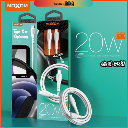 Moxom MX-CB81 PD 20W Data Cable 3A Super Fast Charging 20W快充数据线 /Resilient  Durable Non-Fading /Type-c to iOS